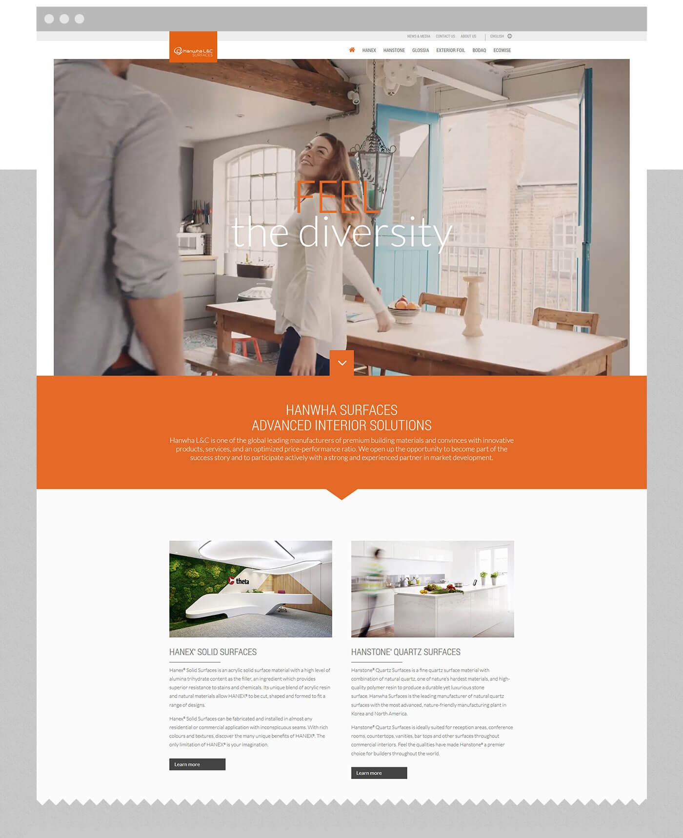 webdesign stuttgart - dt media group - hanwha surfaces